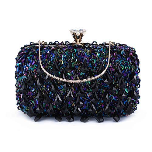 UBORSE Women Clutch Wedding Purse Rhinestone Crystal Beaded Bags Cocktail Party Bridal Prom Handbag for Women (Blue) ()