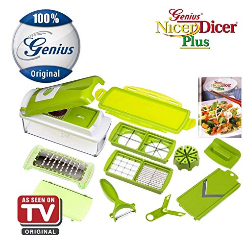 Nicer Dicer Plus by Genius | 13 pieces | Fruit vegetable slicer | Food-Chopper PRO | Mandoline | Kitchen-Cutter Dicer | Stainless Steel | As seen on TV (Nicer Dicer Plus As Seen On Tv)