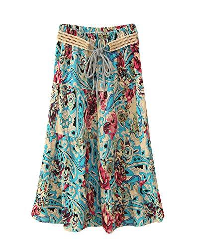 Jupe Longues Jupes Bleu Femme Plisse Taille 2 Maxi Shaoyao Haute t6qvYn