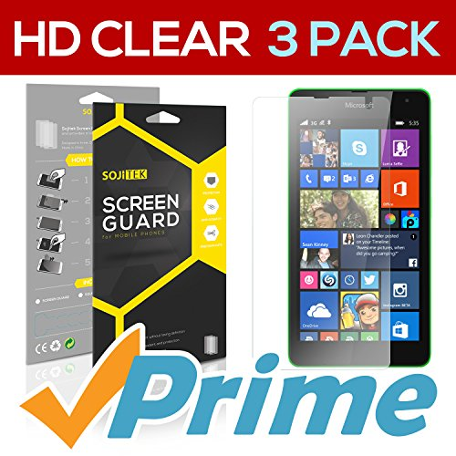 SOJITEK Microsoft Lumia 535 Premium Ultra Crystal High Definition (HD) Clear Screen Protector [3-Pack] - Lifetime Replacements Warranty + Retail Packaging