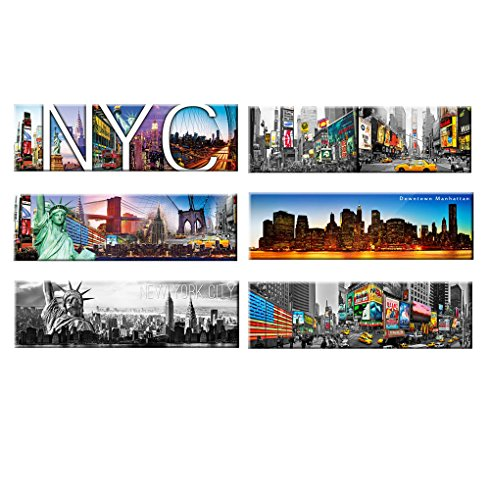 6 set - New York Panoramic Photo Magnets NYC Souvenir Gift S