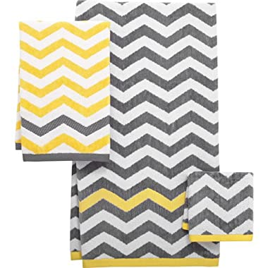 Mainstays Chevron Decorative Bath Collection Yellow, White, and Gray 3 Piece Set - Bath Towel, Hand Towel, and Wash Cloth