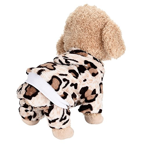 Cute Pet Dog Costume Coat Soft Puppy Clothes for Party Leopard Pajamas PJS Jumpsuit(Coffee, L)]()