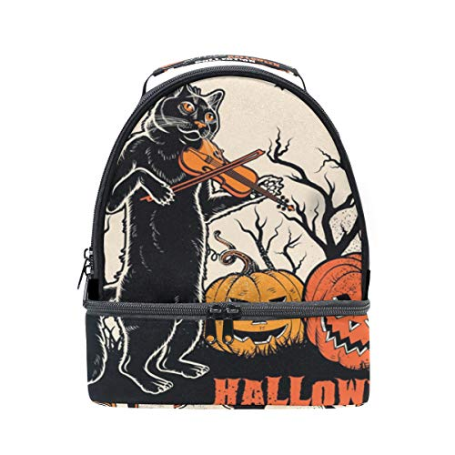 (JOYPRINT Insulated Lunch Bag Box Halloween Cat Music Pumpkin Lunchbox Waterproof Adjustable Shoulder Strap for Men Women Boys Girls)