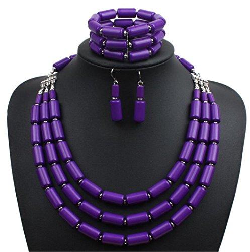 Lanue Fashion Handmade Bead Multilayer Statement Necklace Bracelet Earrings Jewelry Set (Purple)