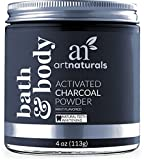 activated Artnaturals Teeth Whitening Charcoal Powder - 4 Oz - Activated Charcoal for a Natural, Non-Abrasive Whitening - Mint Flavored