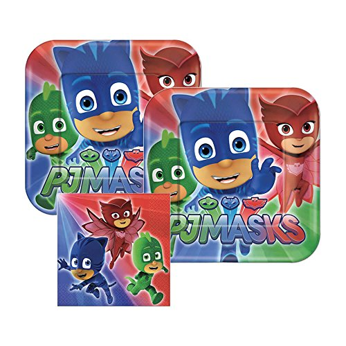 (PJ Masks Paper Plates and Napkins, 16 Settings, Bundle- 3)