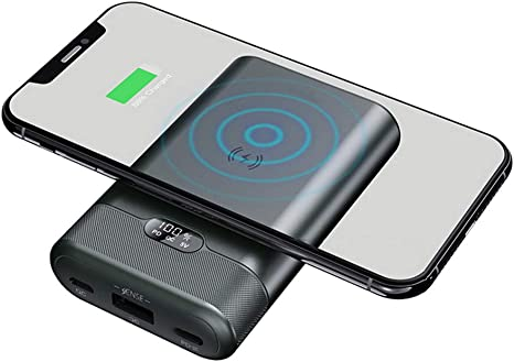 MYYINGELE Qi Power Bank Wireless 10000mAh Cargador Móvil Batería ...