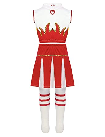 Freebily 3Pcs Disfraces de Animadora Fútibol Niñas Chicas Trajes Danza Jazz Hip Hop Lentejuelas+Falda Plisada+Medias para Fiesta Actuación Infántil ...