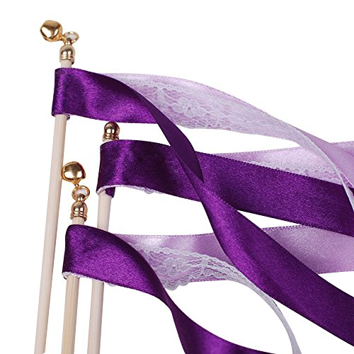 Hangnuo 10 Pack Wedding Streamers Lace Ribbon Wands with Bells, Fairy Stick Wand Party Favors for Baby Shower Holiday Celebration, Purple