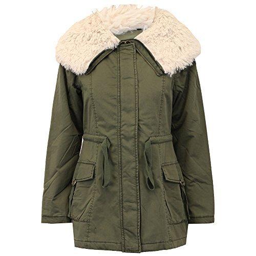 Brave Soul Damen Parka Jacke Damen-Mantel Gesteppt gefüttert Sherpa militärisch Winter Khaki - Hotchoc