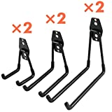 #3: Ihomepark Heavy Duty Garage Storage Utility Hooks for Ladders & Tools, Wall Mount Garage Hanger & Organizer - Tool Holder U Hook with Anti-Slip Coating …