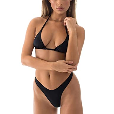 47c15449dad SHERRYLO Bikini Set High Cut T Back Thong Swimwear Women's Swimwear Triangle  Top Bathing Suit (