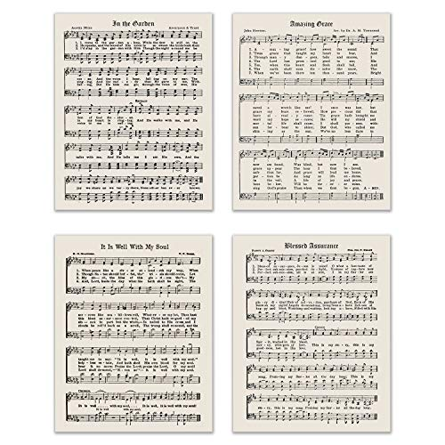 Religious Hymns - Set of 4 (8 inches x 10 inches) Poster Prints - Gospel Sheet Music Photos