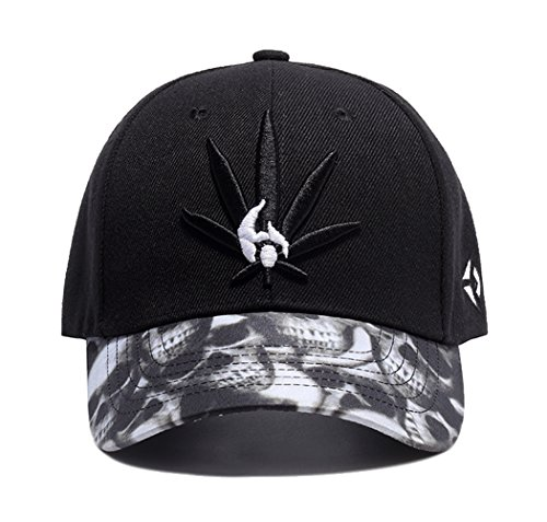 (Marijuana Leafs Snapback Hat Cannabis Embroidered Men's Adjustable Baseball Cap Skull Brim)