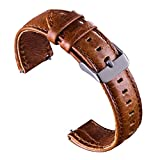 VIQIV Bands for Samsung Gear S3 Frontier Classic/Fossil Q Smart Watch, Quick Release Leather Wrist Band Watch Accessories Replacement Strap 18mm 20mm 22mm for Men Women