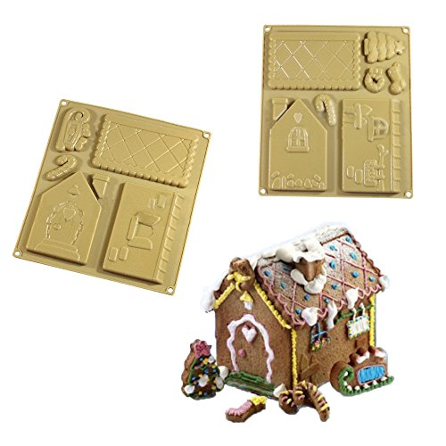 (Forvel Silicone Christmas Gingerbread House / Chocolate Baking Mold Kit - Small )