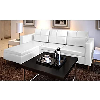 SKB Family 3 Seater L Shaped Artificial Leather Sectional Sofa White Modern  Style Couch