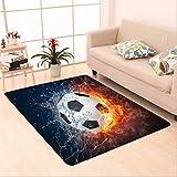 Nalahome Custom carpet Soccer Ball on Fire and Water Flame Splashing Thunder Lightning Abstract Image Orange Navy White area rugs for Living Dining Room Bedroom Hallway Office Carpet (6' X 9')