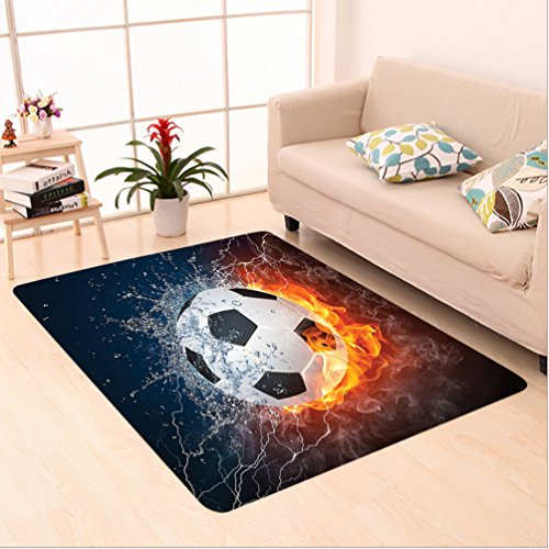 Nalahome Custom carpet Soccer Ball on Fire and Water Flame Splashing Thunder Lightning Abstract Image Orange Navy White area rugs for Living Dining Room Bedroom Hallway Office Carpet (6' X 9') by Nalahome