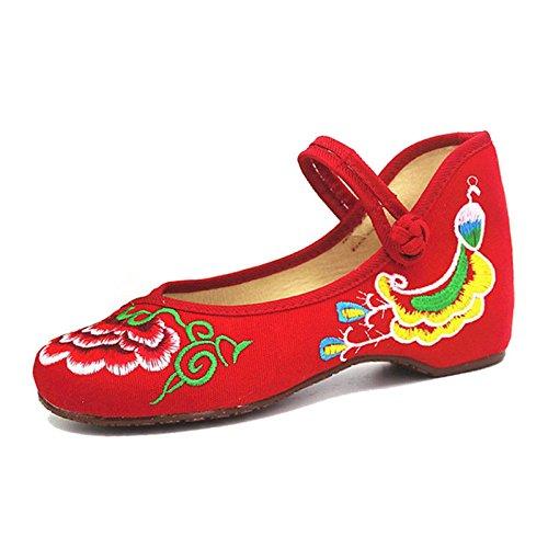 Le ortografico nude cento stile donne ricamo piatto colore scarpa nazionale Red lap DYF OBqndfxEO