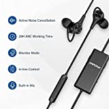 Mpow Active Noise Cancelling Earbuds, Stereo Wired in Ear Headphones with Mic, 20 Hours Playtime, Portable Earphones with Awareness Monitor Mode for Cell Phones, Tablet (w/Hard EVA Case)