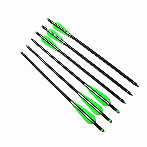 "Archery Aluminum Crossbow Bolts,ZhanYi Target Practice Hunting Arrows with Removable Tips and 4"" TPU Vanes for Compound Recurve Bow 6 Pack (18 inch)"