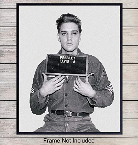 Vintage Elvis Presley Army Draft Photo, Wall Decor Art Print - Classic 8x10 Poster Print for Fans of Graceland, The King
