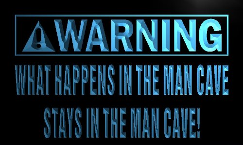 Multi Color n087-c Warning What Happen in Man Cave Stay Neon LED Sign with Remote Control, 20 Colors, 19 Dynamic Modes, Speed & Brightness Adjustable, Demo Mode, Auto Save Function - Edge Lit Signs