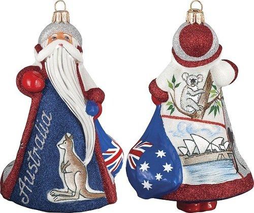 Australian Santa Sydney Opera House Polish Glass Glitterazzi Christmas Ornament - Opera House Ornament