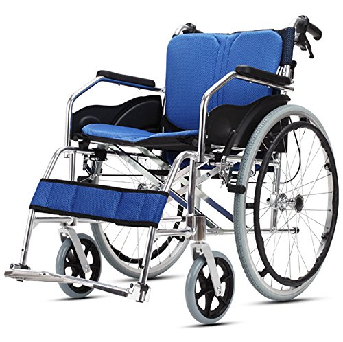 """(Ultra Lightweight Folding Wheelchair Aluminum Alloy Wheelchair with Flip-Back Ergonomic Armrests and Elevating Leg Rests Wear-Resistant Stable 18"""" Seat-LAJ)"""