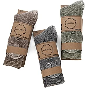 FUN TOES Men's Merino Wool Socks -6 Pack Value- Lightweight,Reinforced-Size 8-12 (Black)