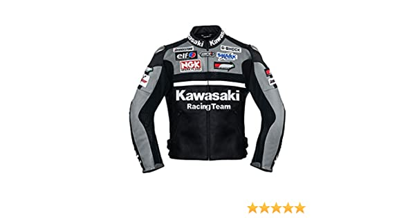 Kawasaki Gray Racing Team Leather Jacket (without a hump) ((XL (EU56)))