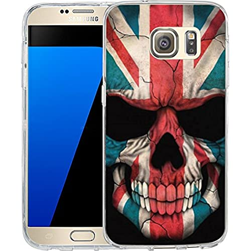 S7 Case British flag skeleton, LAACO Scratch Resistant TPU Gel Rubber Soft Skin Silicone Protective Case Cover Sales