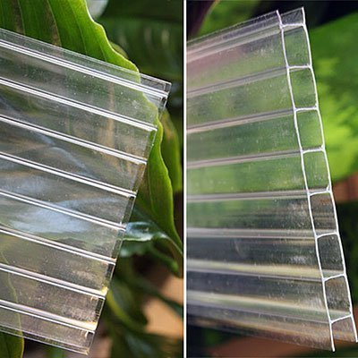 (Easy Ship 8mm clear Twinwall Polycarbonate, 2' wide x 6' long)