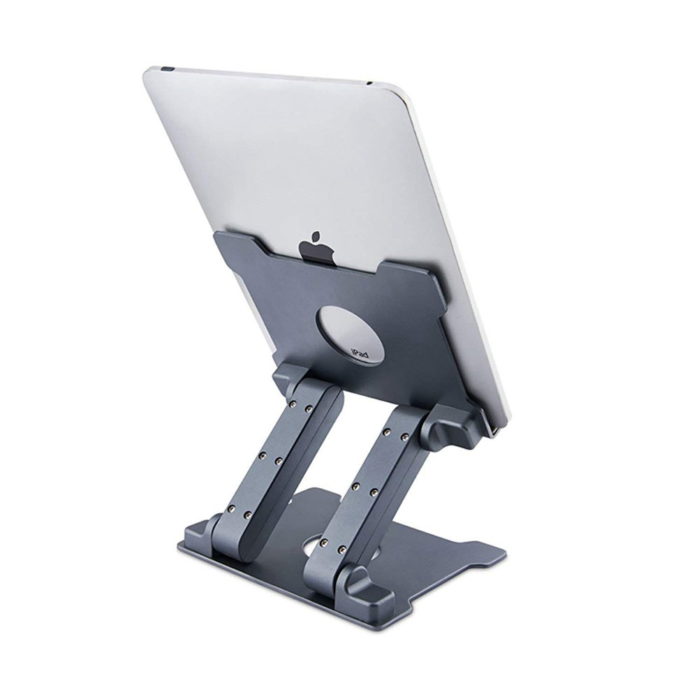 Soundance Adjustable Tablet Holder Stand for iPad Pro Air Mini 7.9/9.7/10.5/12.9, Samsung, Microsoft Surface, Kindle, Any Devices 6-13 inch, Portable for Office Desk Kitchen Table, TS1 Space Gray