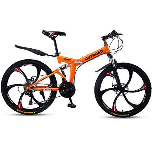 Outroad Mountain Bike 6 Spoke 21 Speed Double Disc Brake Folding Bike (Orange,26in)