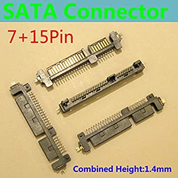 Cable Length: SATAPLUG SSD//HDD Connector Cables SATA Connector//Plug 7pin SMT,Locating Peg,H=1.4mm,SATA 22P Connector Offset Type Male Adapter 15pin -