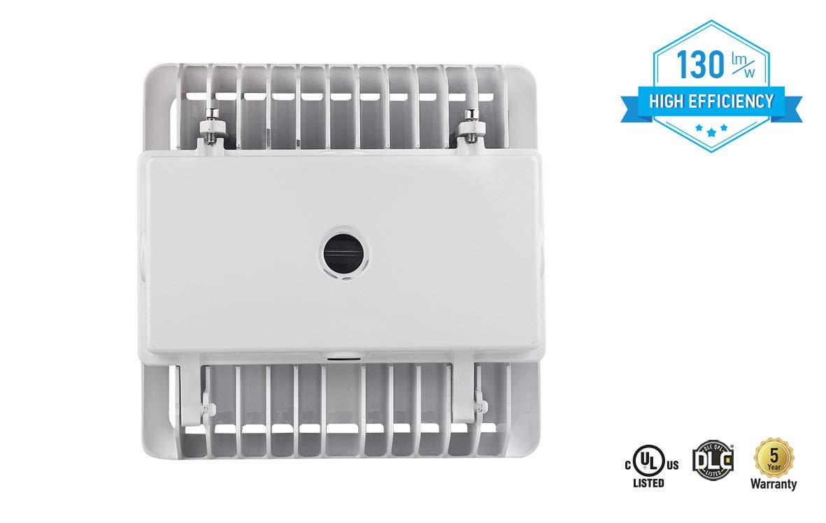 4000K Bronze 100-277V UL and DLC Standard 5369 Lumens ASD LED Canopy Light with j-box 40 Watt Bright White