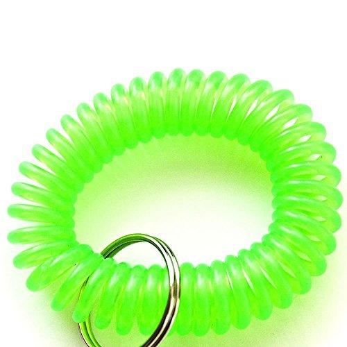 Feeko Plastic Wrist Coil Wrist Band Key Ring Chain for Outdoor Sport Green 6Pcs
