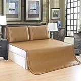 Qbedding Rattan Cooling Summer Sleeping Pad Mattress Topper & Pillow Shams Set, Queen, Plaid