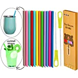 Tegion Standard Size Short Reusable Silicone Wine Tumbler Straws, Cocktail Straws for Small Kids Straw Cups 14 Pack