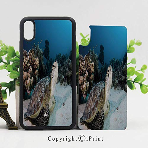 iPhone X Case Slim Fit, Underwater Sea Animal on Coral Reef in Red Sea Egypt Amphibian Exotic Nature Shockproof Impact Resistant Drop Protection Protective TPU,Brown Coconut Aqua]()
