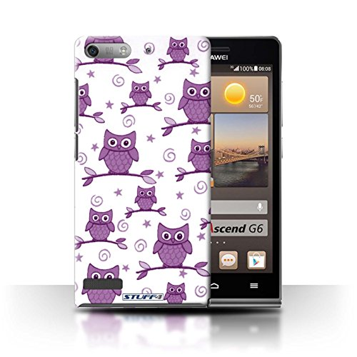 STUFF4 Phone Case / Cover for Huawei Ascend G6 3G / Purple/White Design / Cute Owl Pattern Collection