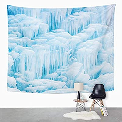 Emvency Wall Tapestry Blue Ice Winter and of Beautiful Frozen Waterfall Fountain with Cascading Icicles from Dripping Water in Shades White Decor Wall Hanging Picnic Bedsheet Blanket 80x60 Inches