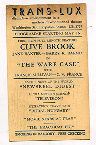 The Ware Case Trans-Lux Theater Postcard 5/24/39