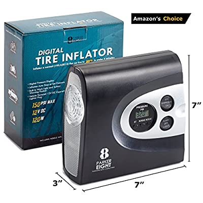 Auto Digital Tire Inflator from Parker 8 – Electric 12v DC Portable Air Compressor - Pump Automobile Tires up to 150 Psi - Always be Prepared w/Easy Storage in Car - Bright Easy to Read LED Display: Automotive