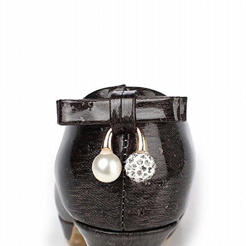 Mee Shoes Damen high heels Plateau runde Pumps Schwarz