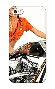 Iphone 5/5s Case Cover With Shock Absorbent Protective Girls And Motorcycles Case