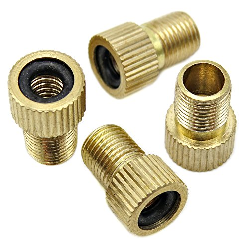 Bike Bits Brass Presta Valve Adapter - Convert Presta to Schrader - French/UK to US - Inflate Tire Using Standard Pump or Air Compressor (4 Pack)